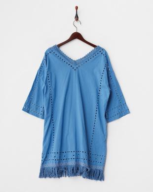 BLUE  アンダードレス付き カットワーク刺繍裾フリンジワンピース見る