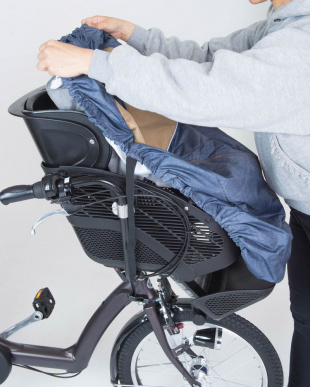デニム×ベージュ  フロントチャイルドシートカバー(自転車 前子供乗せ専用)|KIDS見る