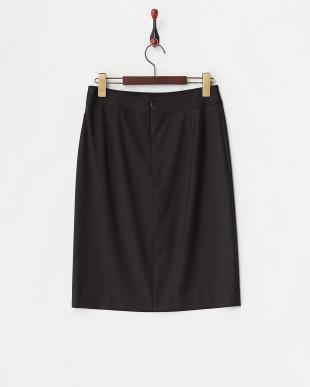 ブラック  ウールナチュラルストレッチ ストレートスカート見る
