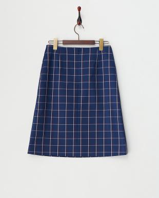 ブルー ウィンドーペイン Aラインスカート見る