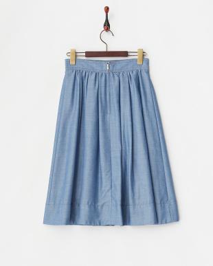 ブルー  シャンブレー タックギャザースカート見る