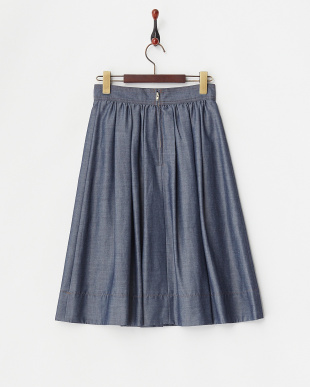 ネイビー  シャンブレー タックギャザースカート見る