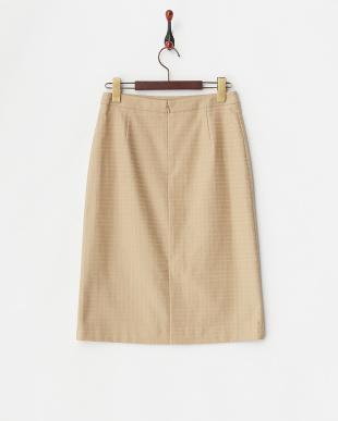 ベージュ  シャドータータンチェック ストレッチストレートスカート見る
