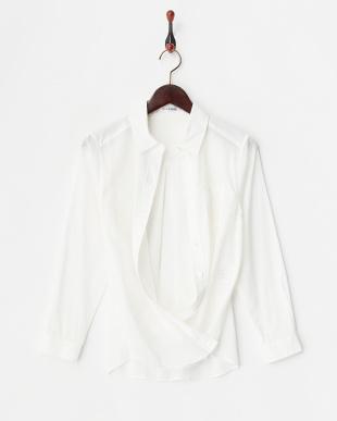 ホワイト レギュラーカラー 2WAYカシュクールシャツ見る