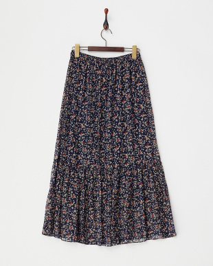 ネイビー  小花プリントフリル切り替えギャザースカート見る