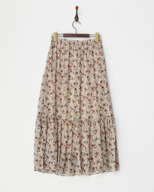 ベージュ  小花プリントフリル切り替えギャザースカート見る
