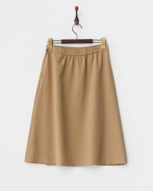 キャメル  ラップ風フレアースカート見る