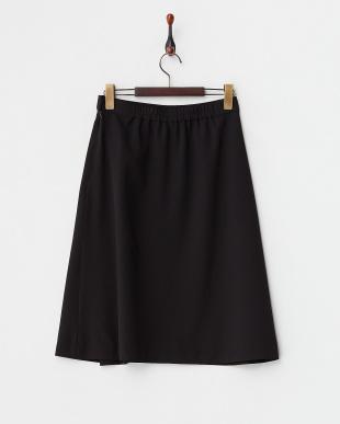 ブラック  ラップ風フレアースカート見る