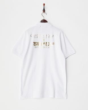ホワイト プリント ポロシャツ見る