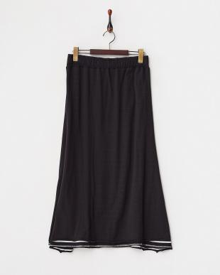 ブラック  無地×ボーダー リバーシブルマキシスカート見る