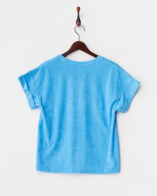 ブルー  袖折り返しパイルTシャツ見る