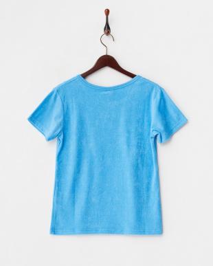 ブルー  ポケット付きパイルTシャツ見る
