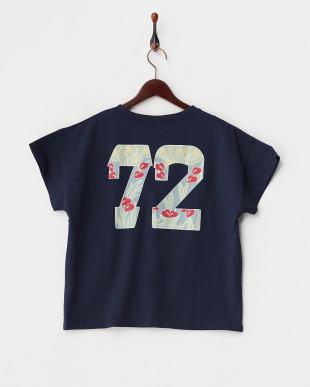 ネイビー  ロゴ&花柄ナンバリングTシャツ見る
