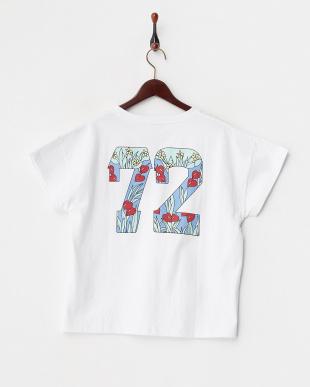 ホワイト  ロゴ&花柄ナンバリングTシャツ見る