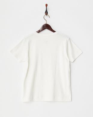 ホワイト  メタリックプリントTシャツ見る