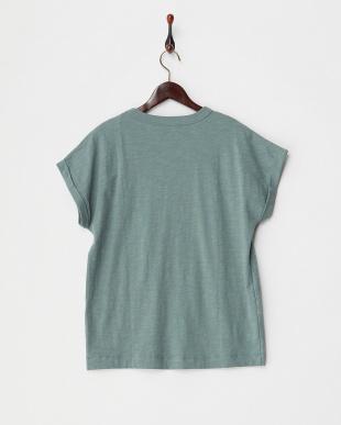 カーキ  袖折り返しプリントTシャツ見る