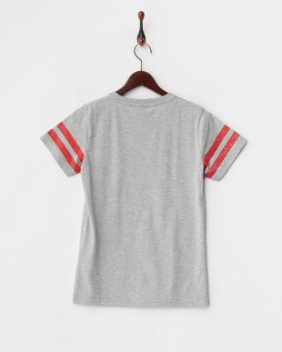 グレーヘザー  かすれプリントTシャツ見る