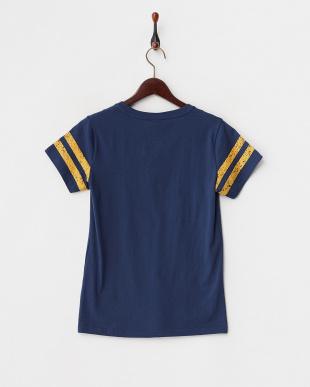 ネイビー  かすれプリントTシャツ見る