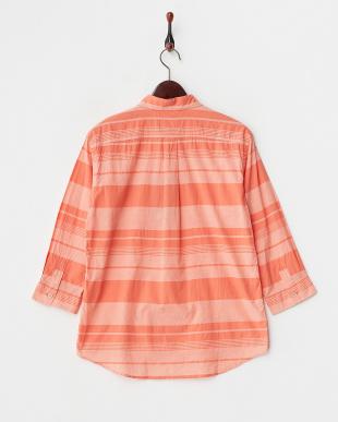 オレンジ 7分袖マルチボーダーシャツ見る