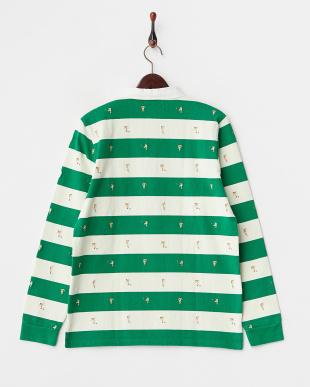 グリーン 刺繍 ラガーシャツ見る
