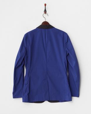 ブルー/ブラック  1ボタン 配色ショールカラージャケット見る