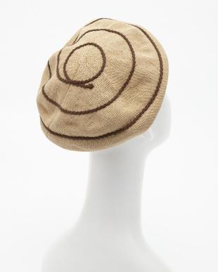 ベージュ  麻×綿ニットベレー帽見る