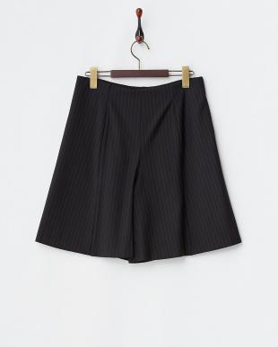ブラック ストライプラップスカート風パンツ見る