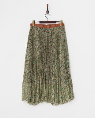 グリーン シルクプリーツスカート見る