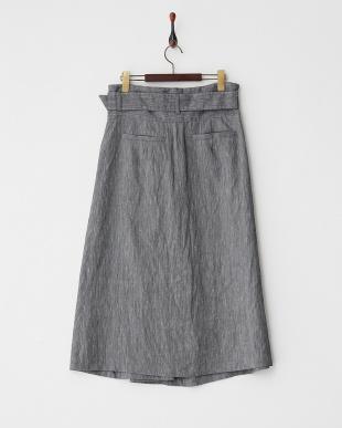 ブラック ベルト付きネップスカート見る