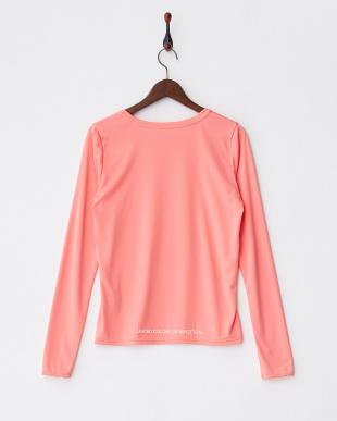ピンク ロゴプリント長袖ラッシュTシャツ見る