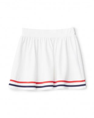 ホワイト  裾ライン水陸両用スカート見る