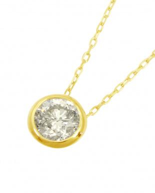 K18YG  天然ダイヤモンド 0.3ct フクリン 一粒ペンダント見る