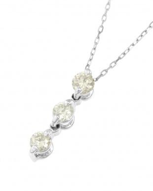 K18WG  天然ダイヤモンド0.1ct スリーストーン ネックレス見る