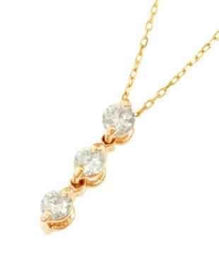 K18PG  天然ダイヤモンド0.1ct スリーストーン ネックレス見る