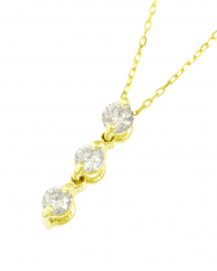 K18YG  天然ダイヤモンド0.1ct スリーストーン ネックレス見る