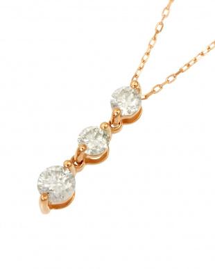 K18PG  天然ダイヤモンド0.3ct スリーストーン ネックレス見る