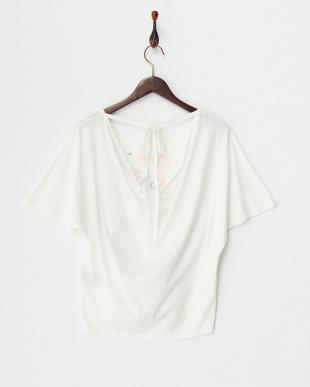 ホワイト バックドレーププリントドルマンTシャツ見る