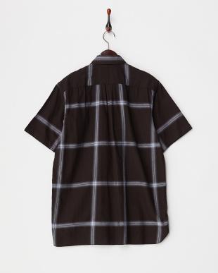 ブラック  オンブレチェック半袖シャツ見る
