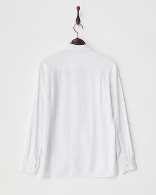 ホワイト プリント長袖シャツ見る