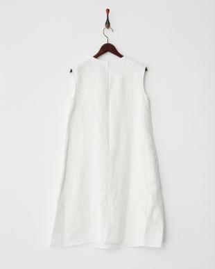ホワイト リネン刺繍タックOP見る