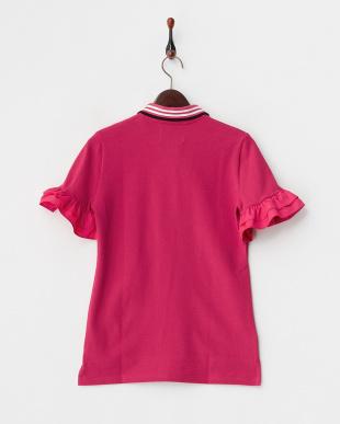 PINK  フレア袖 リボン付きポロシャツ見る