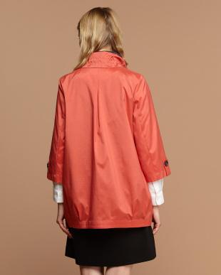 オレンジ  7分袖タックコート見る