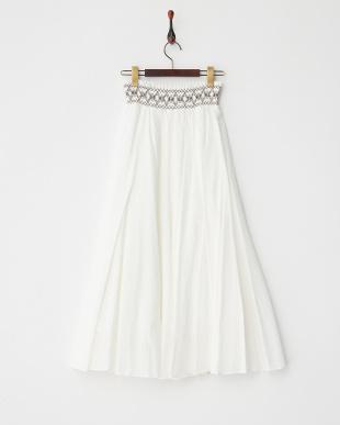 WHITE  スモック刺繍ロングスカート見る