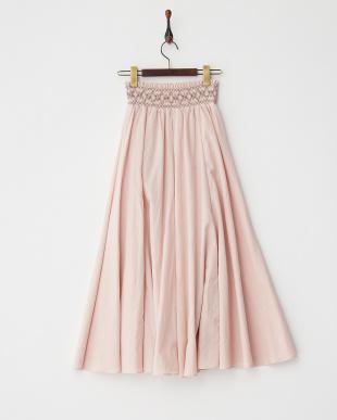 PINK  スモック刺繍ロングスカート見る