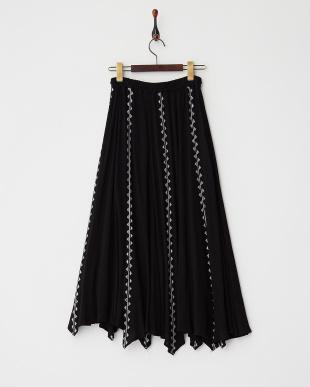 BLACK  ヨーリュークロスステッチ刺繍ロングスカート見る