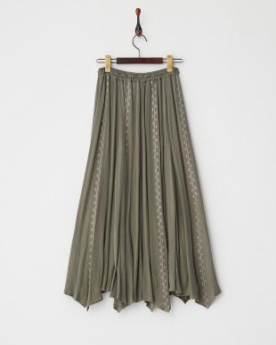 KHAKI  ヨーリュークロスステッチ刺繍ロングスカート見る