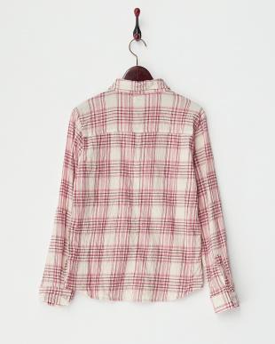 PINK  シワ加工チェックシャツ B見る