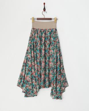 RED  ウエストリブ 花柄ハンカチーフヘムスカート見る