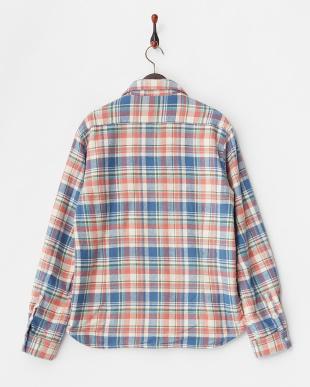ブルー  ネップネルチェックシャツジャケット見る