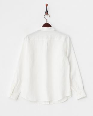 オフホワイト  フレンチリネン2WAYボタンシャツ見る